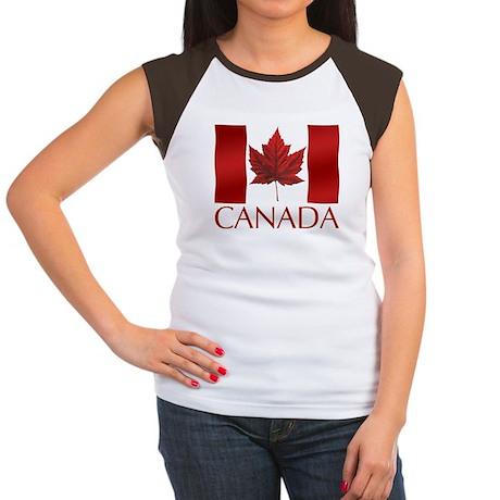 Canada Flag T-Shirt Womens Cap Sleeve T-shirt