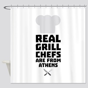 Real Grill Chefs are from Athens C3 Shower Curtain