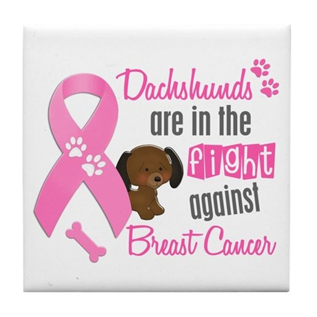 Dachshunds Against Breast Cancer 2 Tile Coaster