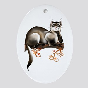 Ferret On A Branch Oval Ornament