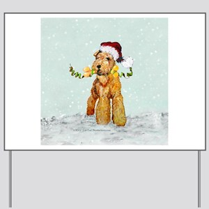 Winter Airedale Yard Sign