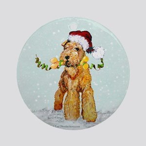 Winter Airedale Ornament (Round)