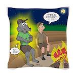 Werewolf Campfire Woven Throw Pillow