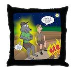 Werewolf Campfire Throw Pillow