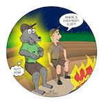 Werewolf Campfire Round Car Magnet