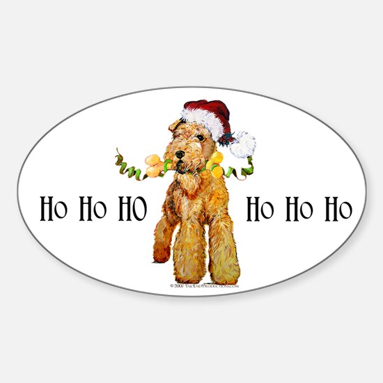 Santa Airedale Terrier Oval Decal