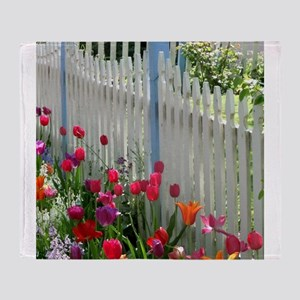 Tulips Garden along White Picket Fen Throw Blanket