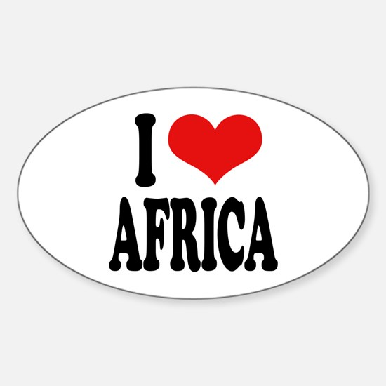 I Love Africa Oval Decal