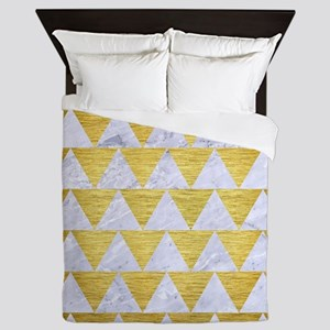 TRIANGLE2 WHITE MARBLE & GOLD BRUSHED Queen Duvet