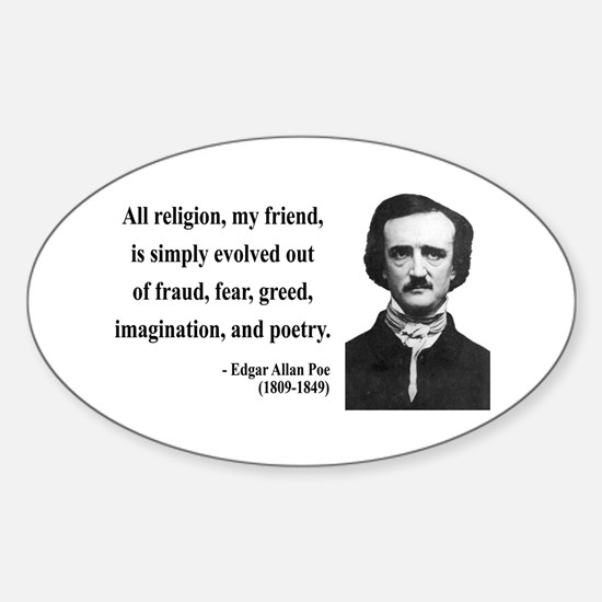 Edgar Allan Poe 15 Oval Decal