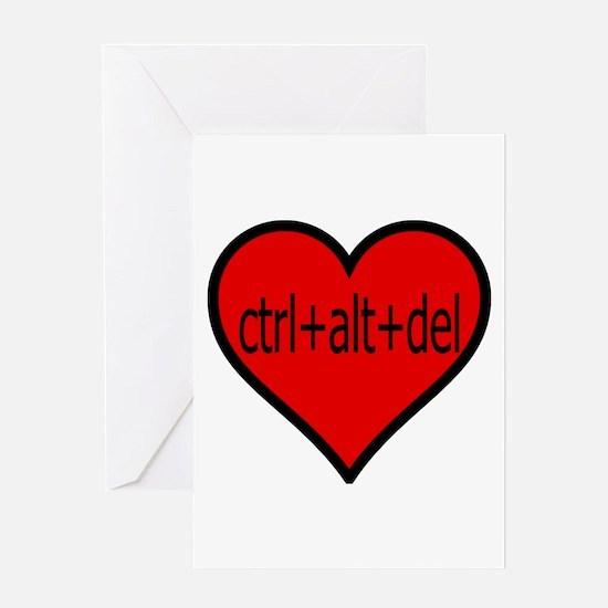 CTRL+ALT+DEL Heart Greeting Card