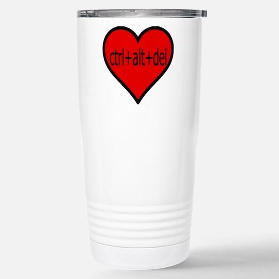 CTRL+ALT+DEL Heart Stainless Steel Travel Mug