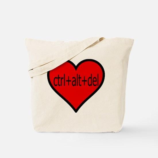 CTRL+ALT+DEL Heart Tote Bag