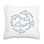Minimal Shark Swimming School Square Canvas Pillow
