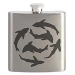 Minimal Shark Swimming School Flask