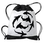 Minimal Shark Swimming School Drawstring Bag