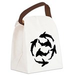 Minimal Shark Swimming School Canvas Lunch Bag