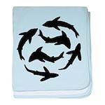 Minimal Shark Swimming School baby blanket