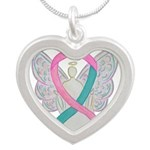 Breast & Ovarian Cancers Awareness Ribbon Necklace