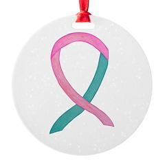 Breast & Ovarian Cancer Awareness Ribbon Ornament