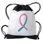 Breast & Ovarian Cancer Awareness Ribbon Drawstrin