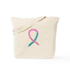 Breast & Ovarian Cancer Awareness Ribbon Tote Bag