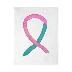 Breast & Ovarian Cancer Awareness Ribbon Twin Duve