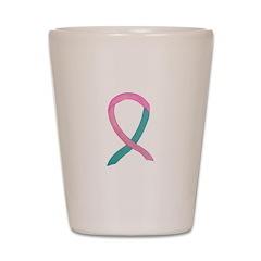Breast & Ovarian Cancer Awareness Ribbon Shot Glas
