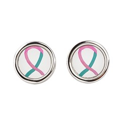 Breast & Ovarian Cancer Awareness Ribbon Round Cuf