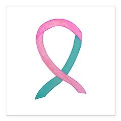 Breast & Ovarian Cancer Awareness Ribbon Square Ca