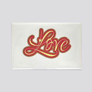 Red and Cream Retro Love Rectangle Magnet