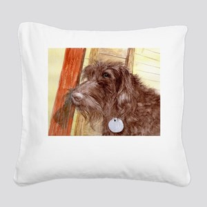 Chocolate Labradoodle Square Canvas Pillow