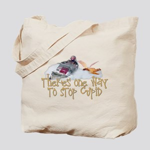 Stop Cupid Snowmobile Tote Bag