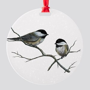 chickadee song birds Round Ornament