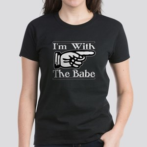 I'm With the Babe Left Women's Dark T-Shirt