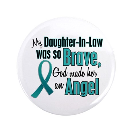 """Angel 1 TEAL (Daughter-In-Law) 3.5"""" Button"""
