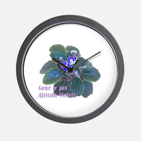 Gone to Pot African Violets Wall Clock