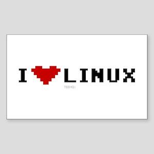 I Love Linux Rectangle Sticker 10 pk)