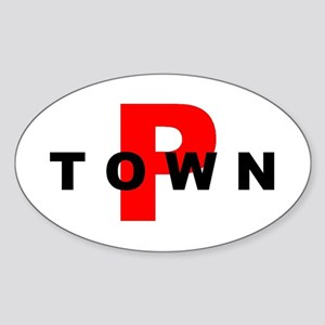 P TOWN Oval Sticker