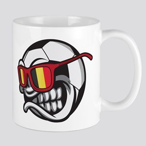 Belgium Angry Soccer Ball with Sunglasses Fan Mugs