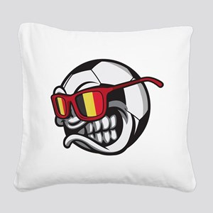 Belgium Angry Soccer Ball wit Square Canvas Pillow
