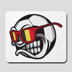 Belgium Angry Soccer Ball with Sunglasse Mousepad