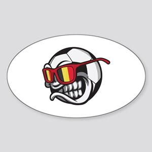Belgium Angry Soccer Ball with Sunglasses Sticker
