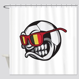 Belgium Angry Soccer Ball with Sung Shower Curtain