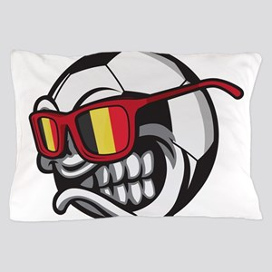 Belgium Angry Soccer Ball with Sunglas Pillow Case