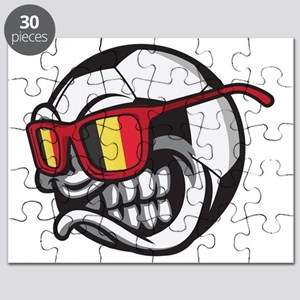 Belgium Angry Soccer Ball with Sunglasses F Puzzle