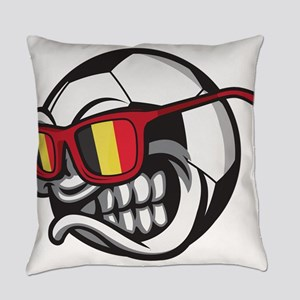 Belgium Angry Soccer Ball with Sun Everyday Pillow