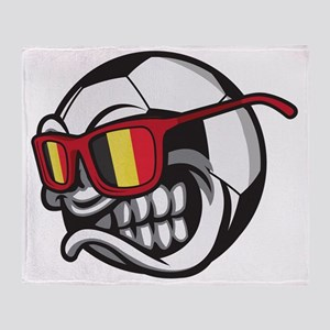 Belgium Angry Soccer Ball with Sungl Throw Blanket