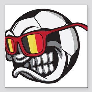 "Belgium Angry Soccer Bal Square Car Magnet 3"" x 3"""