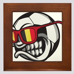 Belgium Angry Soccer Ball with Sunglas Framed Tile